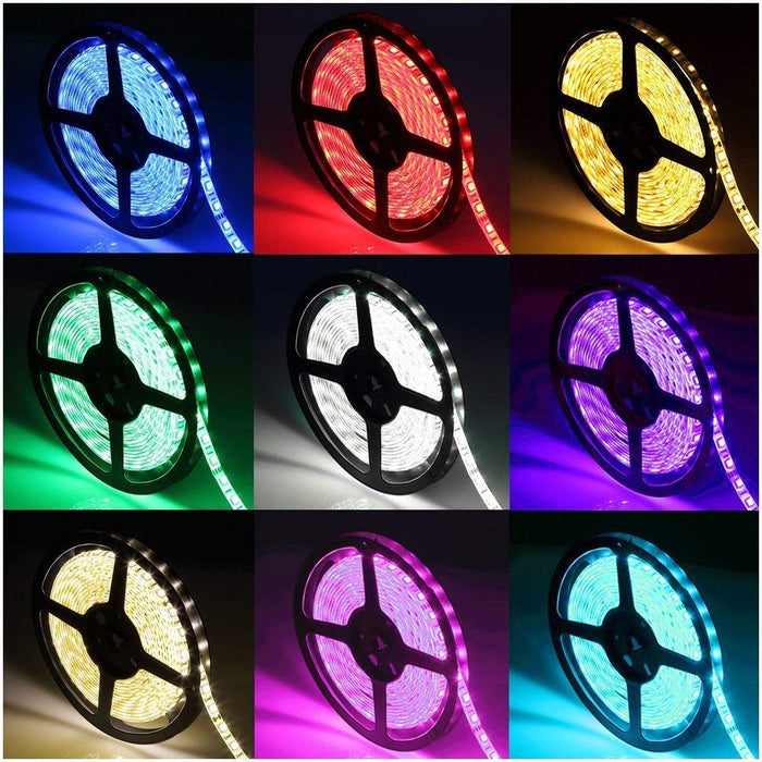 SUPERNIGHT 16.4Ft Waterproof Flexible Color Changing RGB SMD5050 300 LEDs Light Strip Kit with 44 Key Remote and 12V 5A Power Supply