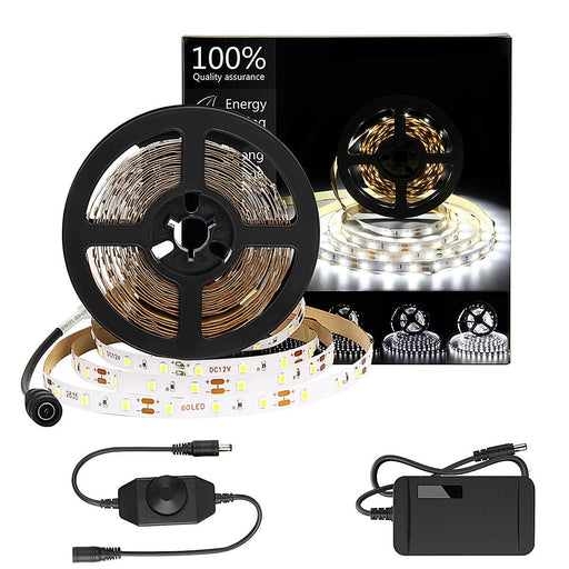 SUPERNIGHT Daylight White LED Strip Lights Kit, 6500K Super Bright Dimmable 300 SMD2835 LEDs, 16FT Non-Waterproof 12v LED Light Strip, LED Ribbon for Room, Vanity Mirror, DIY Decoration
