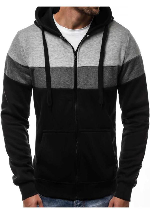 Men New Patchwork Mixed Colors Casual Hoodies
