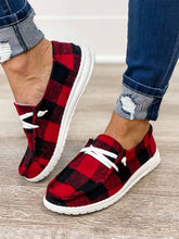 Load image into Gallery viewer, Women's Canvas Shoes Red Plaid Buffalo Plaid Slip On Canvas Shoes