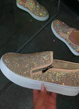 Load image into Gallery viewer, Women Rhinestone Slip on Zipper Canvas Shoes