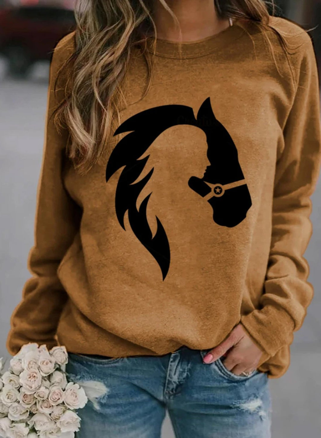 Horse Girl Print Brown Sweatshirt