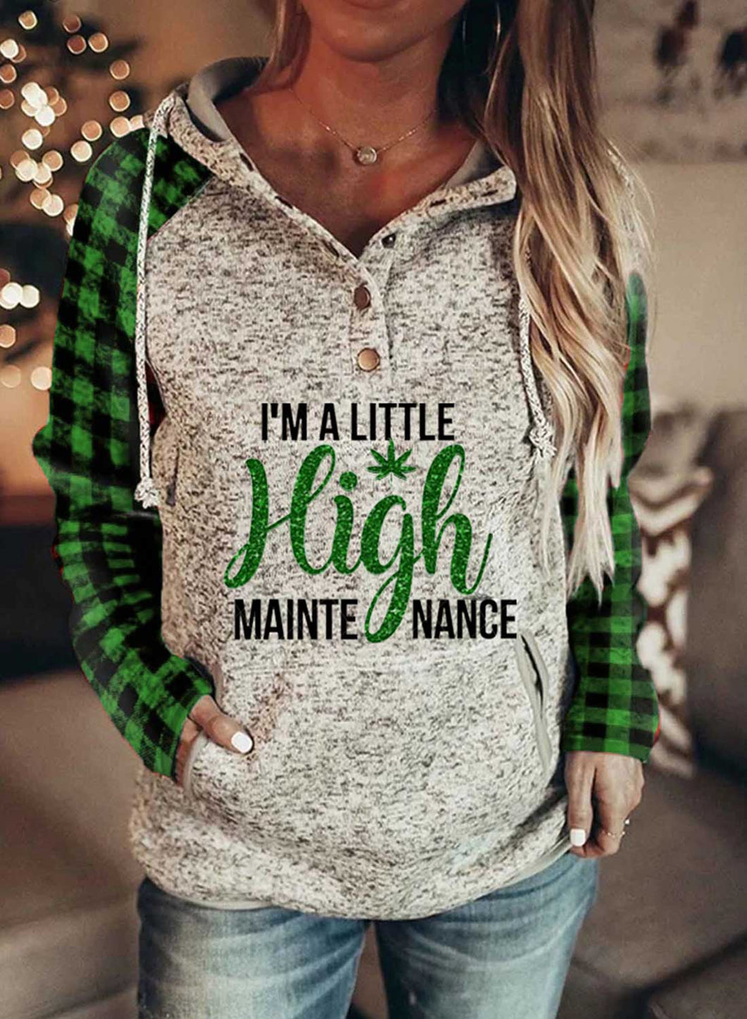 I'm Little High Maintenance Women's Hoodies Drawstring Long Sleeve Plaid Hoodies With Pockets