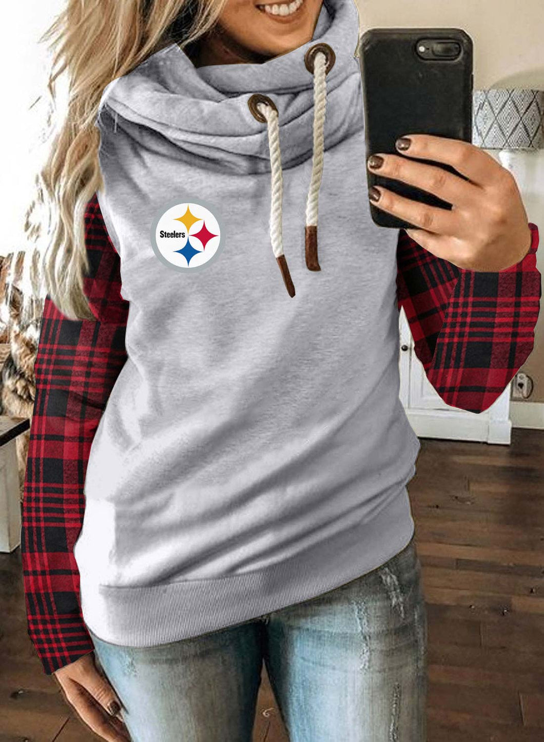 Pittsburgh Steelers Women's Hoodies Plaid Logo Print Drawstring Long Sleeve Hoodie
