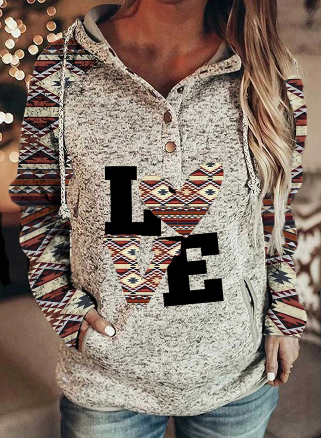 Women's Hoodies Love Letter Tribal Print Long Sleeve Button Pocket Hoodie