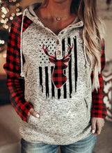 Load image into Gallery viewer, Women's Hoodies Christmas Color-block Plaid Print Long Sleeve Hoodie