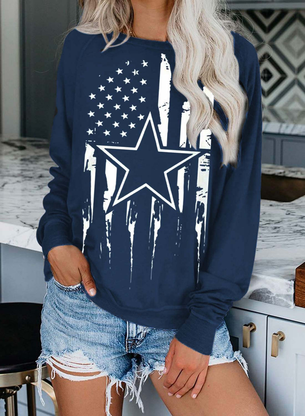 Women's Sweatshirts Round Neck Long Sleeve Solid Flag Star Sweatshirts