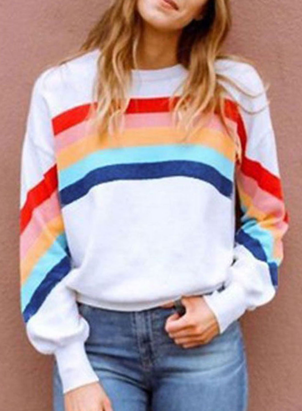 Women's Sweatshirts Round Neck Long Sleeve Solid Rainbow Daily Casual Sweatshirts