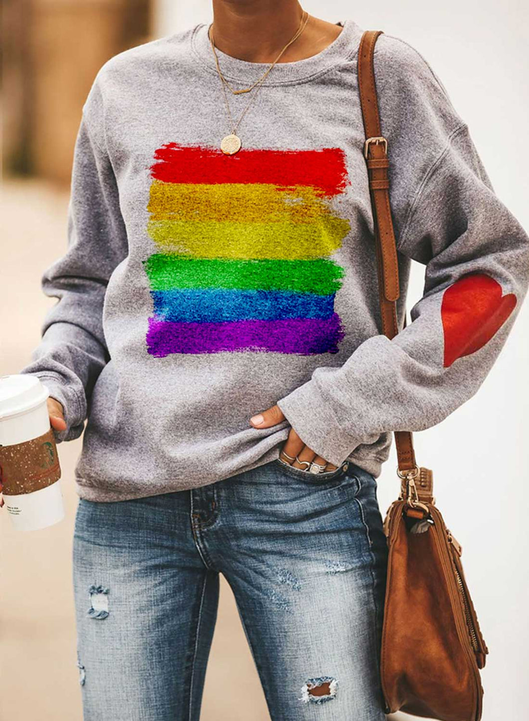 Women's Sweatshirts Round Neck Long Sleeve Color Block Heart-shaped Daily Style Casual Sweatshirts