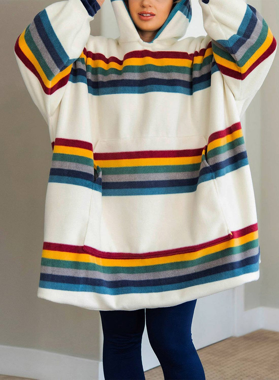 Women's Nightgowns Rainbow Striped Hooded Warm Daily Nightgown