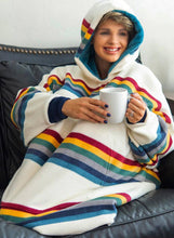 Load image into Gallery viewer, Women's Nightgowns Rainbow Striped Hooded Warm Daily Nightgown