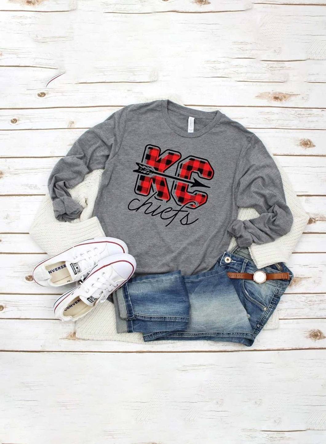 Women's Sweatshirts Kansas City Chiefs Round Neck Long Sleeve Solid Plaid Letter Casual Sweatshirts