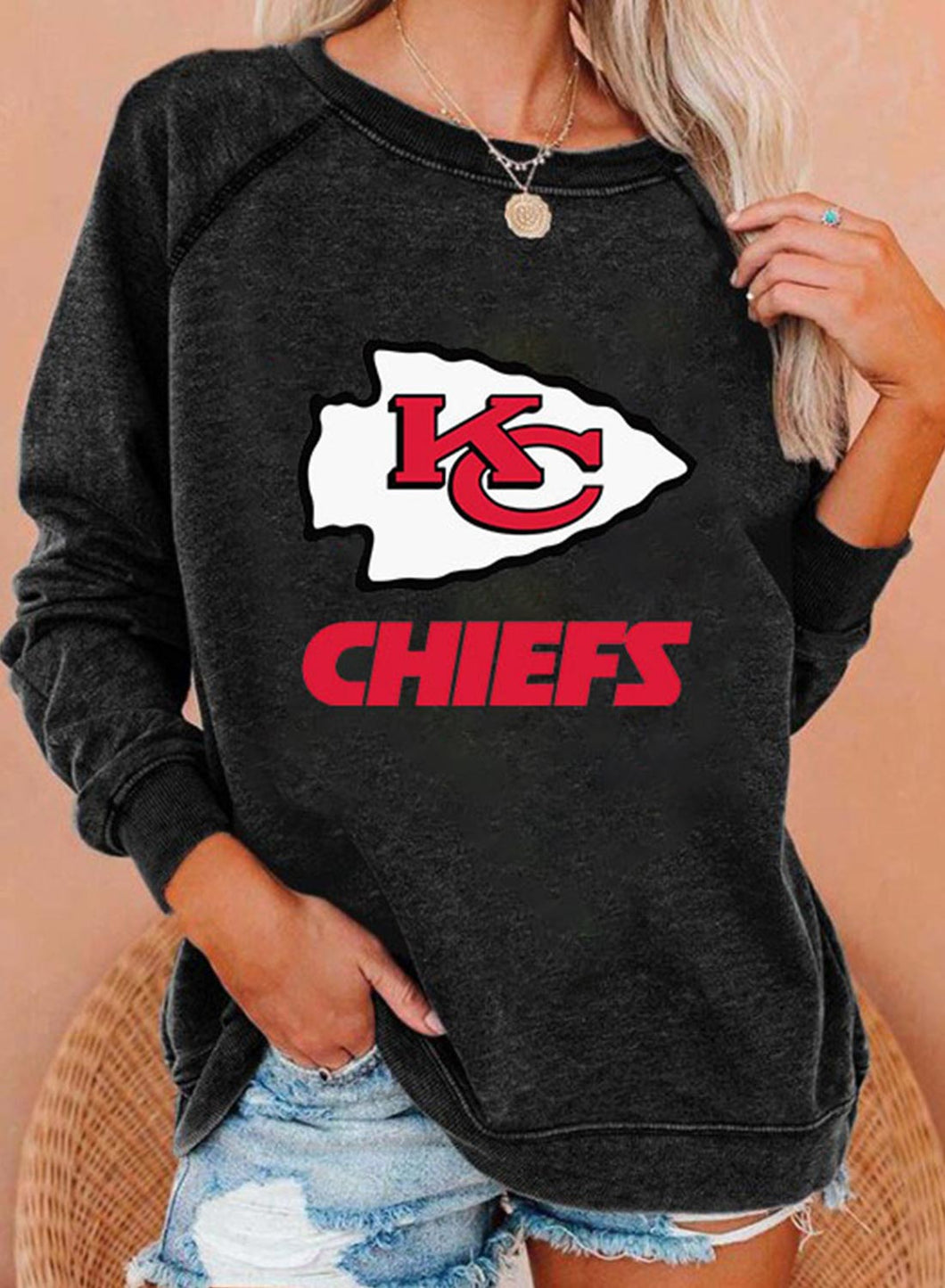 Kansas City Chiefs Women's Sweatshirts Solid Letter Long Sleeve Round Neck Daily Casual Sweatshirt