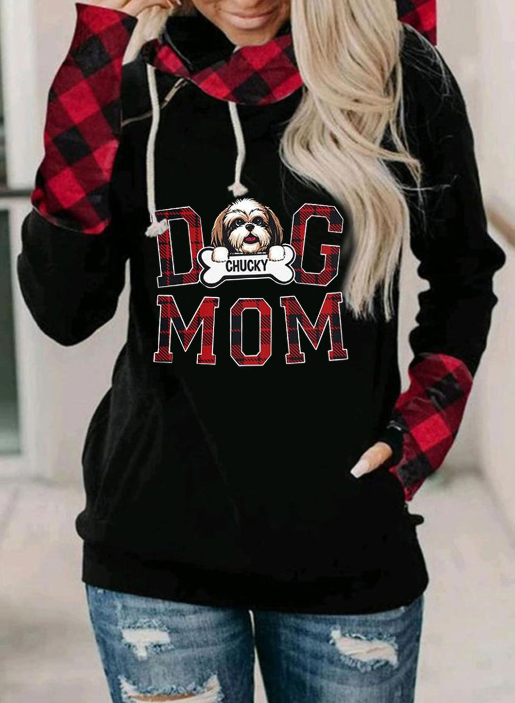 Dog Mom Women's Hoodies Drawstring Turtleneck Long Sleeve Zip Plaid Color Block Animal Print Letter Hoodies With Pockets