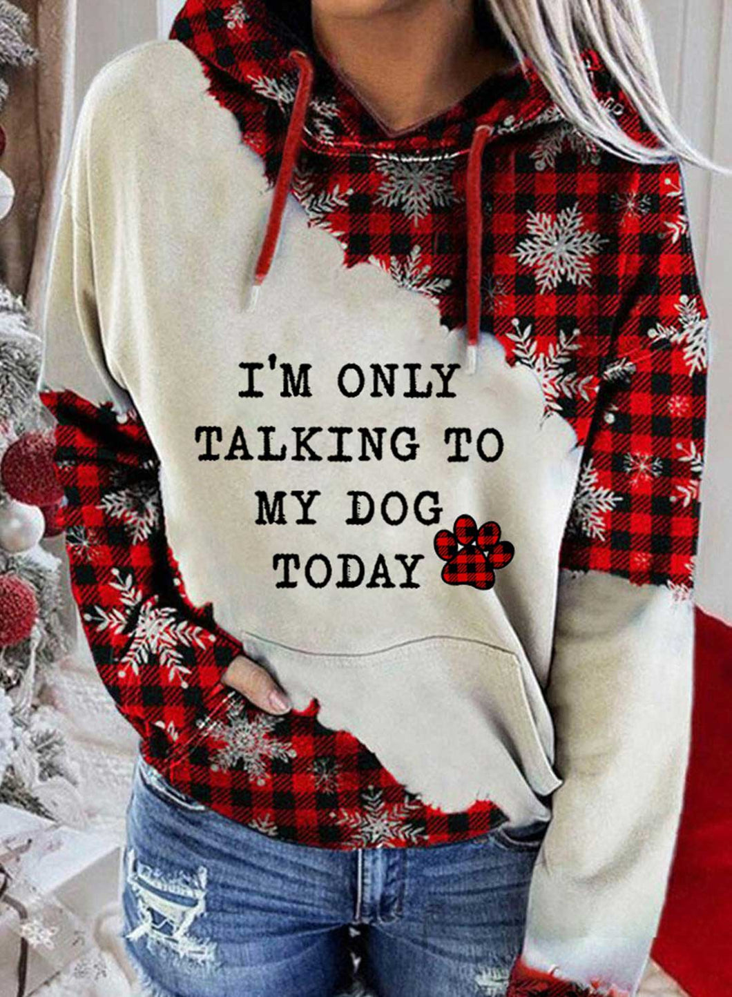I'm Only Talking To My Dog Today Women's Hoodies Drawstring Hooded Long Sleeve Plaid Color Block Casual Hoodies With Pockets