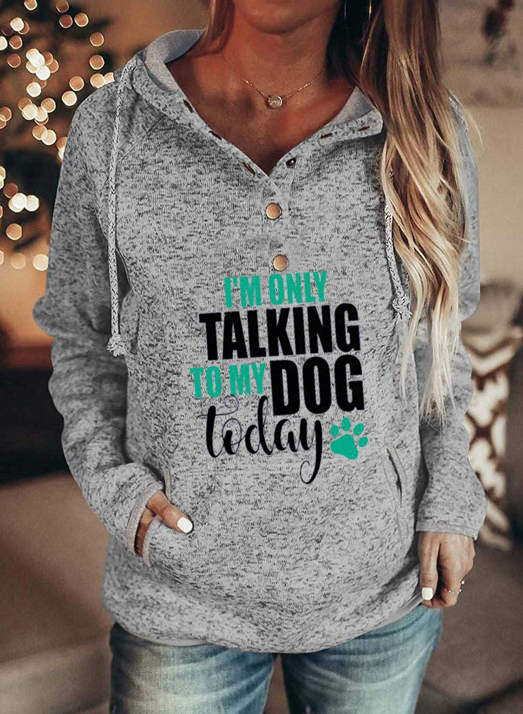 Women's Hoodies Winter Drawstring Long Sleeve Letter Button Casual Daily Hoodies With Pockets