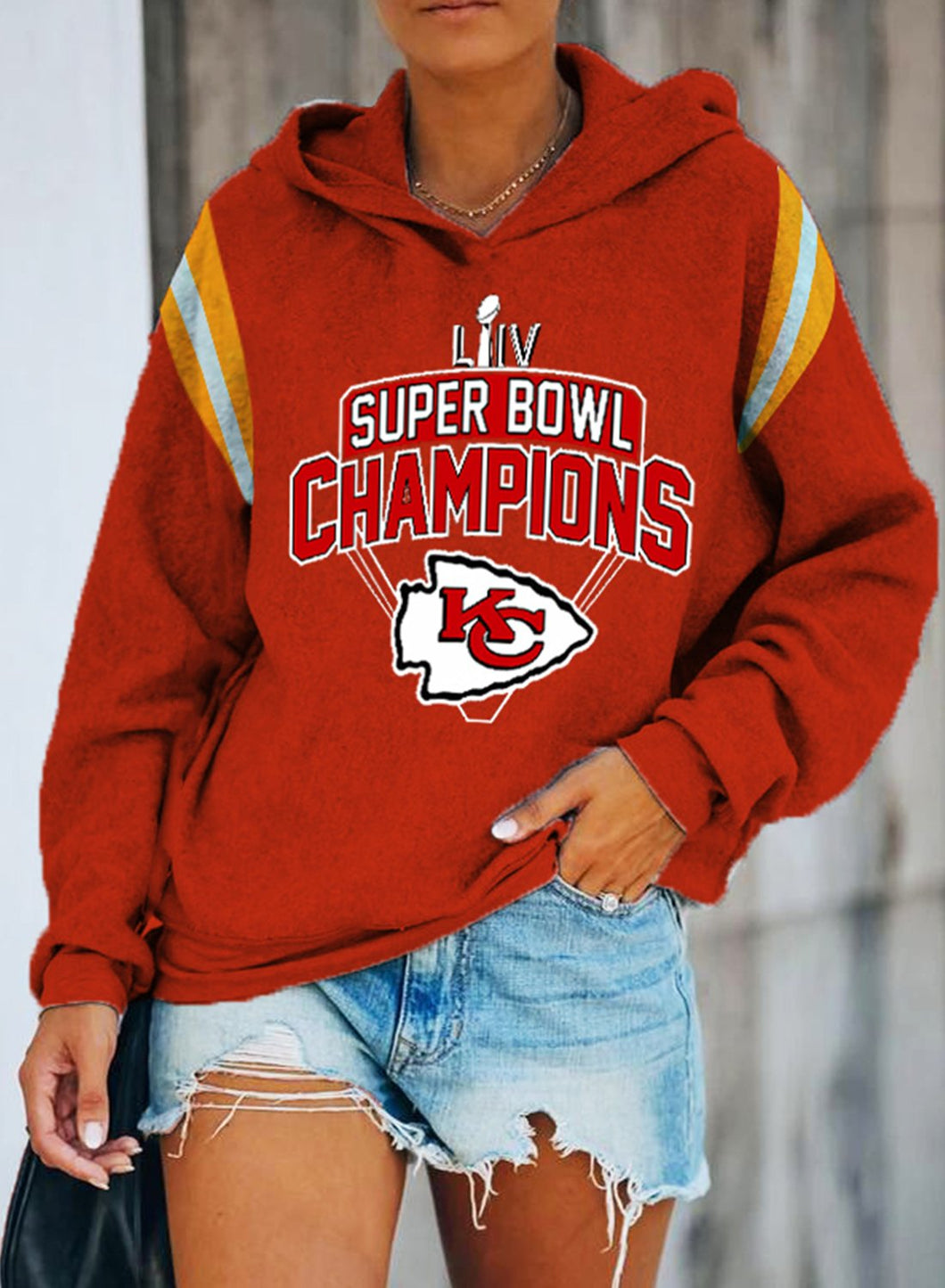 Super Bowl Champion Kansas City Chiefs Women's Hoodies Letter Color Block Long Sleeve Daily Casual Hoodie