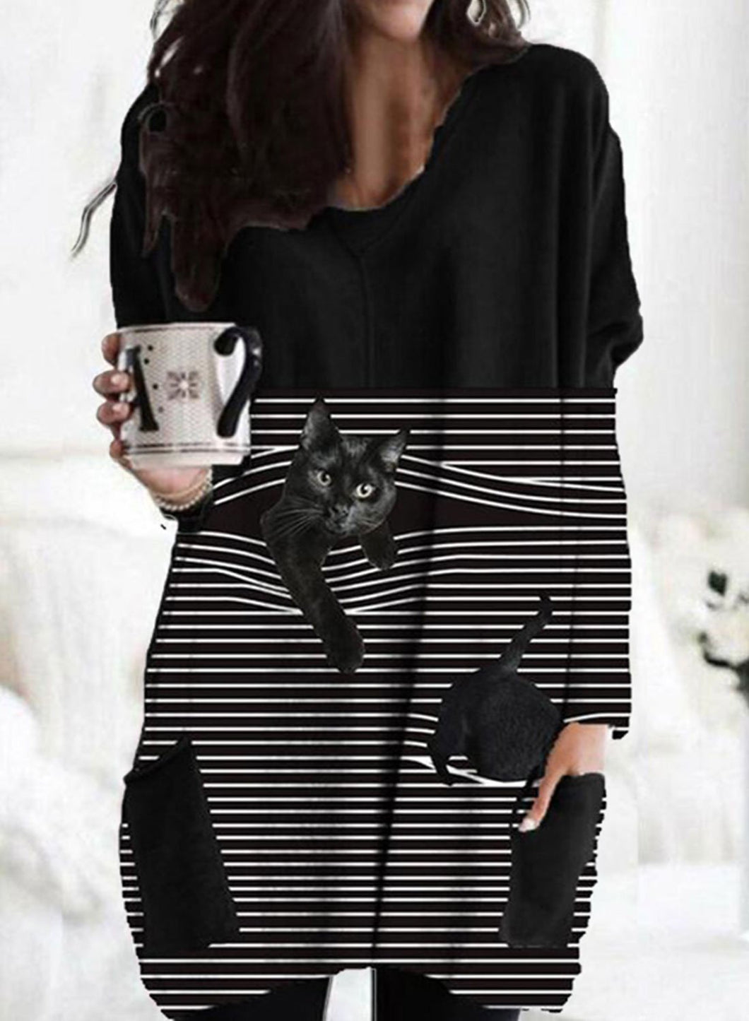 Women's Tunics Cat Striped Long Sleeve Round Neck Daily Pocket Tunic