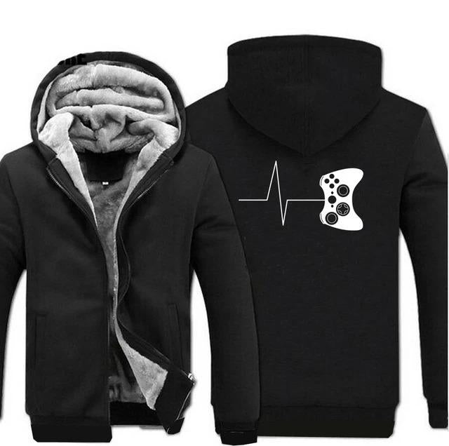 Men's Video Game Cartoon Pattern Zipper Fleece Hoodies