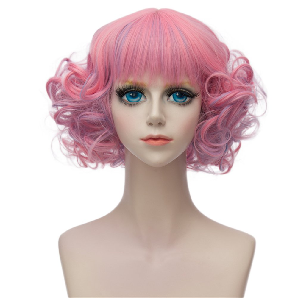 Kadiya Short Curly Wavy Layered Lolita Harajuku Cosplay Wigs Costume Hair Pastel Pink