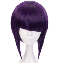 Load image into Gallery viewer, Hair Cap Purple Cosplay Wig Costume Synthetic Hair Bob Wigs With Fringe Hairstyles