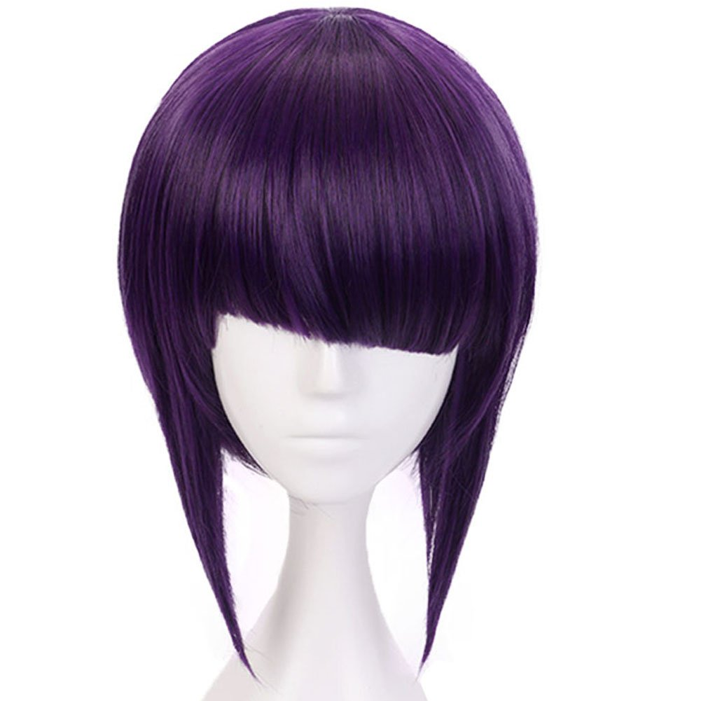 Hair Cap Purple Cosplay Wig Costume Synthetic Hair Bob Wigs With Fringe Hairstyles