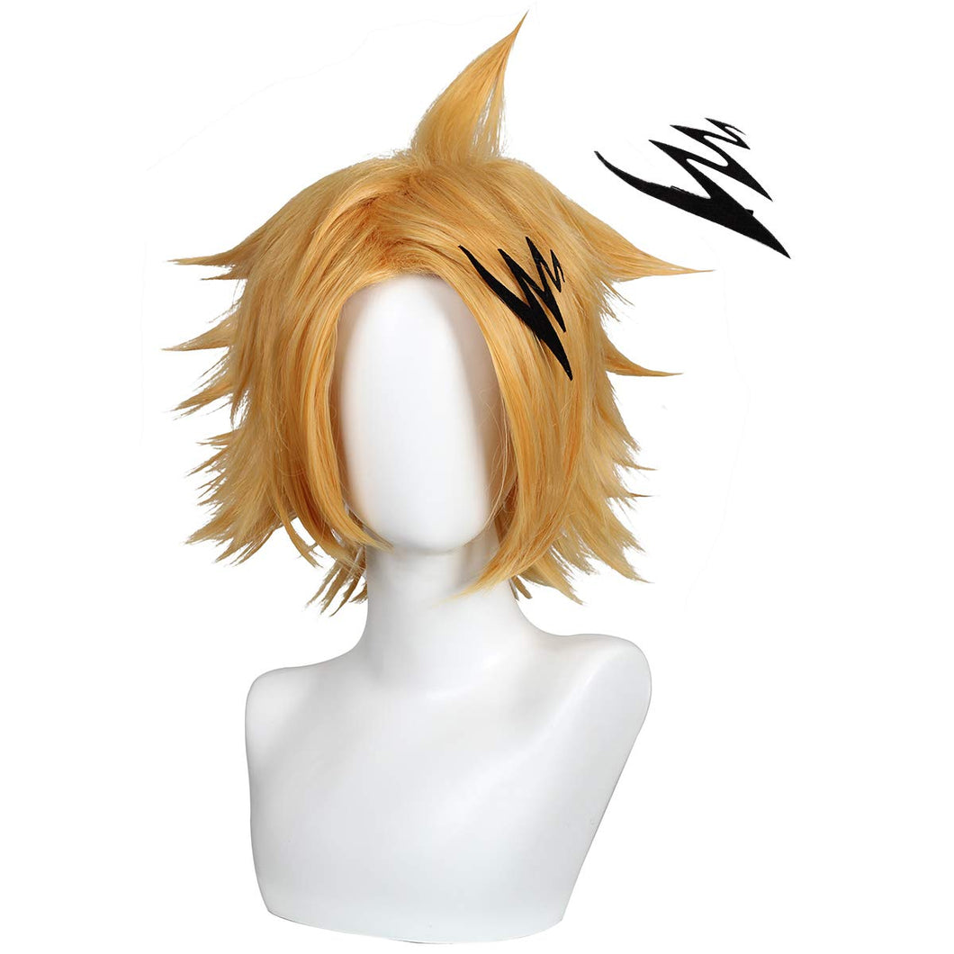 Short Yellow Anime Cosplay Wig Yellow with Hairpin