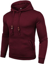 Load image into Gallery viewer, Men's Casual Pullover Hoodies Plaid Jacquard Long Sleeve Hooded Sweatshirt with Pocket