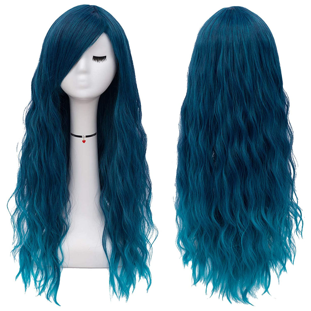 Long Mint Green Wigs Women's Fluffy Curly Wavy Cosplay Wigs for Girl
