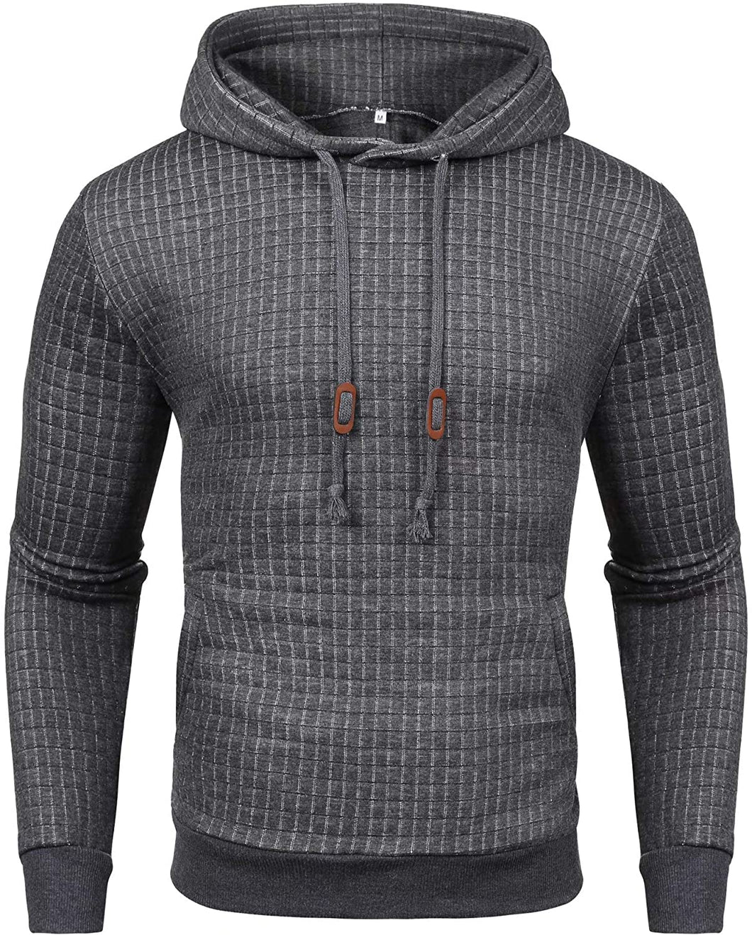 Men's Casual Pullover Hoodies Plaid Jacquard Long Sleeve Hooded Sweatshirt with Pocket