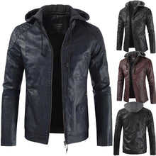 Load image into Gallery viewer, Fashion Hooded Casual Faux Leather Stitching PU Leather Jacket