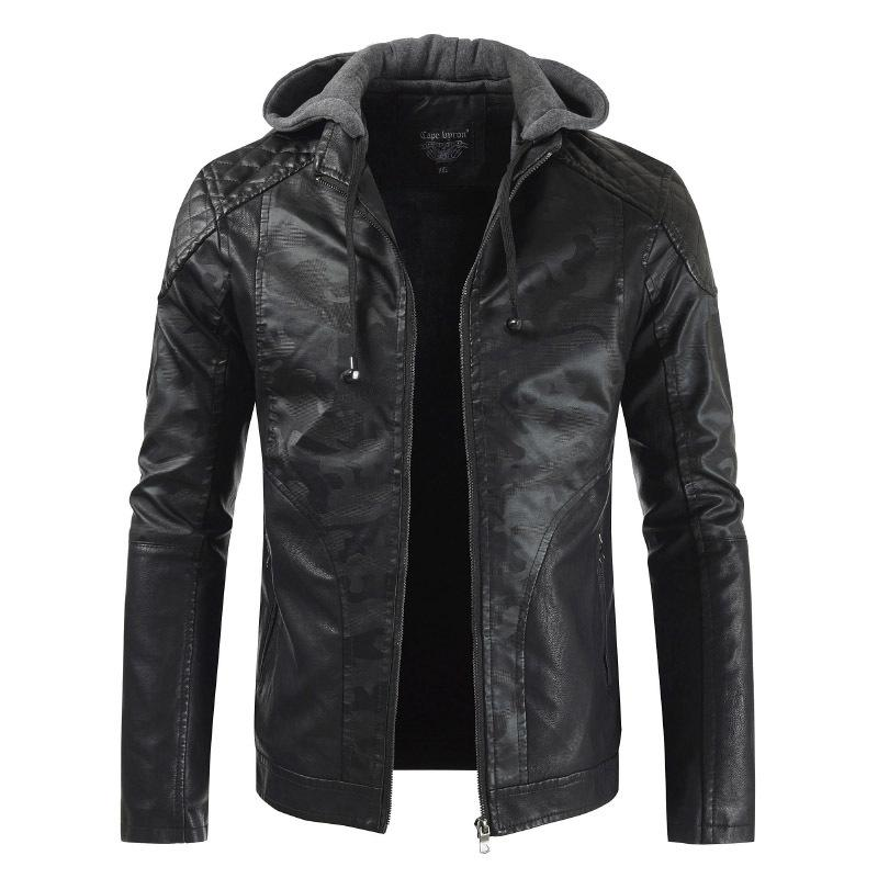 Fashion Hooded Casual Faux Leather Stitching PU Leather Jacket