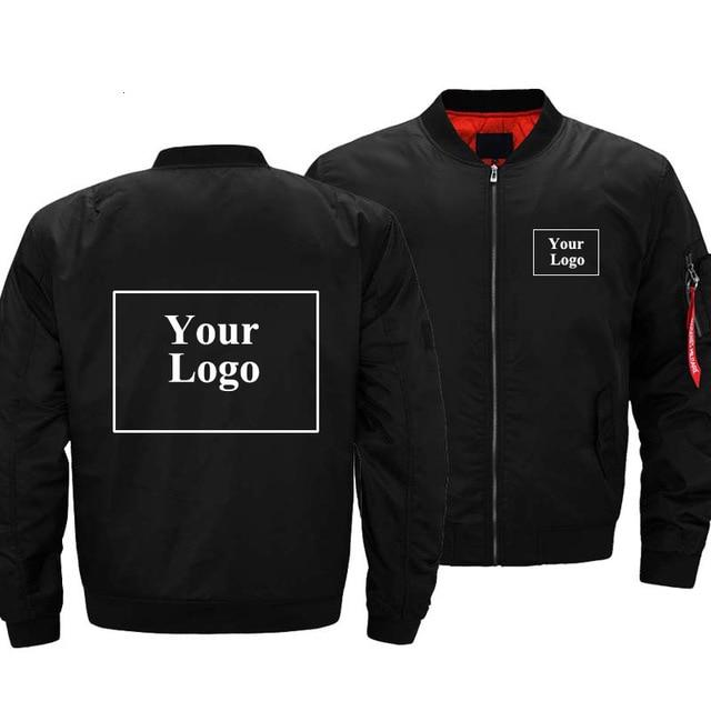 New Men's Custom Logo Bomber Zipper Jacket
