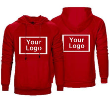 Load image into Gallery viewer, Men Customized  logo Pure Color Fleece Pullover Hoodie