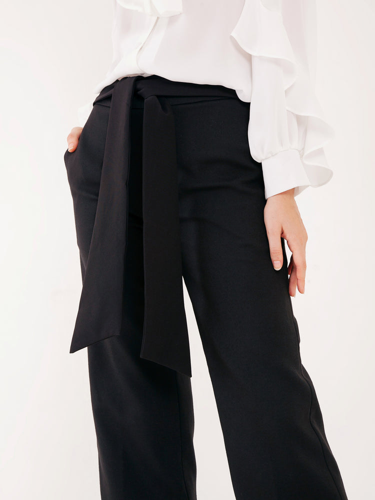 Tessi Tailored Pants with Sash Belt in Black