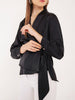 Arya Satin Wrap Around Top in Black