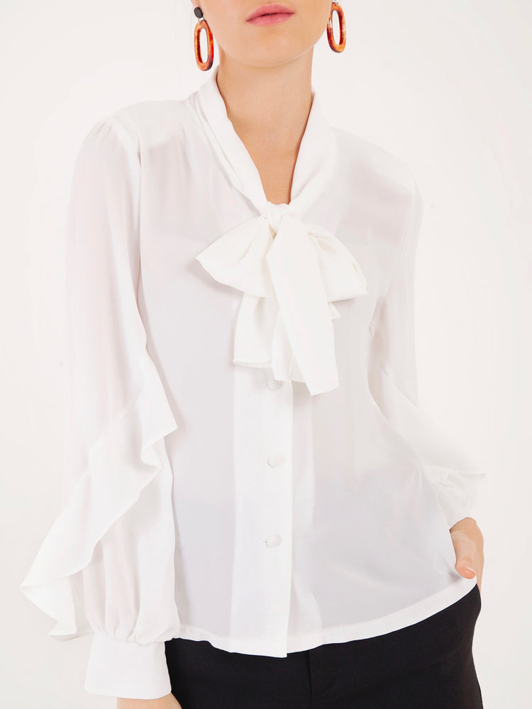 Briana Long Sleeved Shirt in White