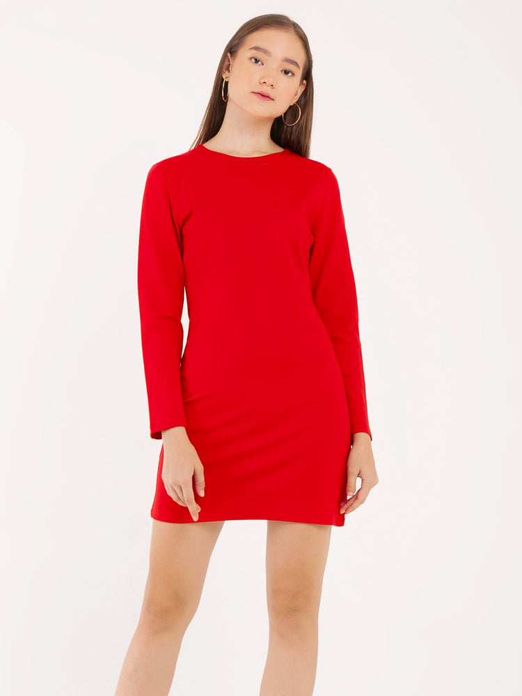 Zenya Zipper Shift Dress in Red
