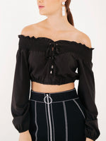Charlize Off-shoulder Cropped Top with Lace Up Front in Black