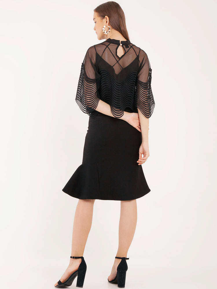 Marcie Mesh Top With Billowing Sleeves