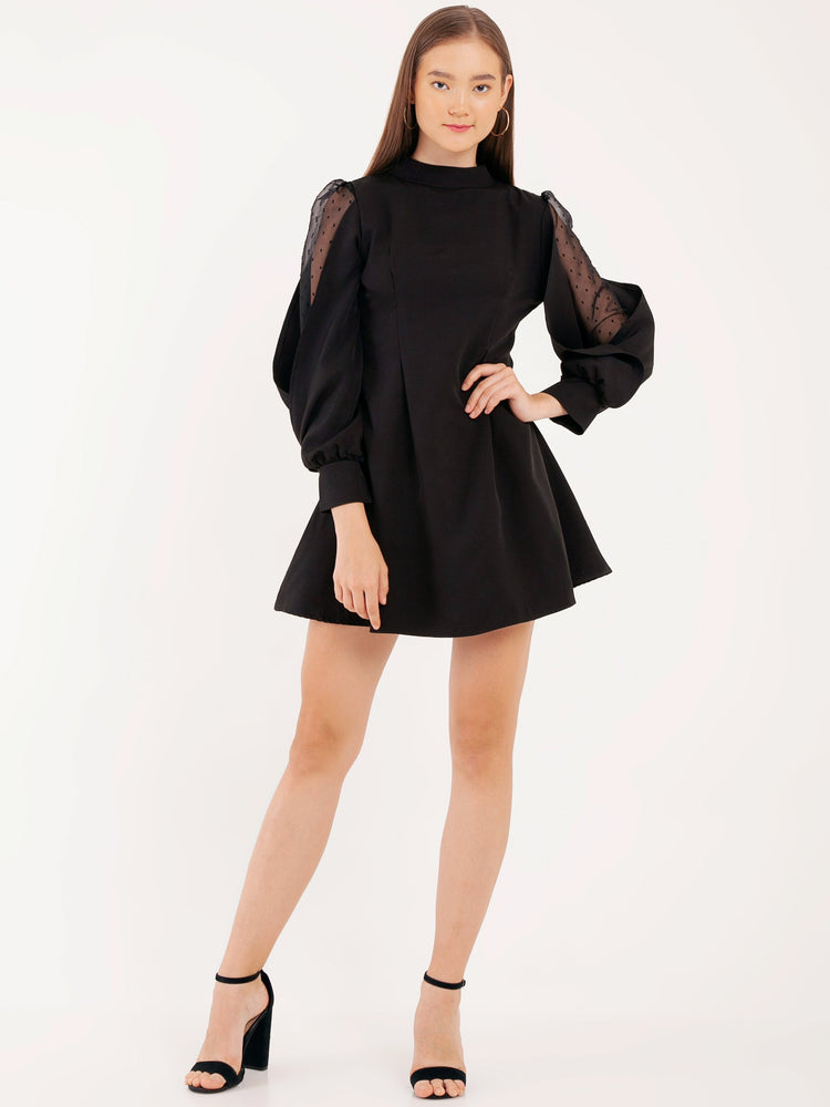 Ariana Skater Mini Dress with Bow in Black