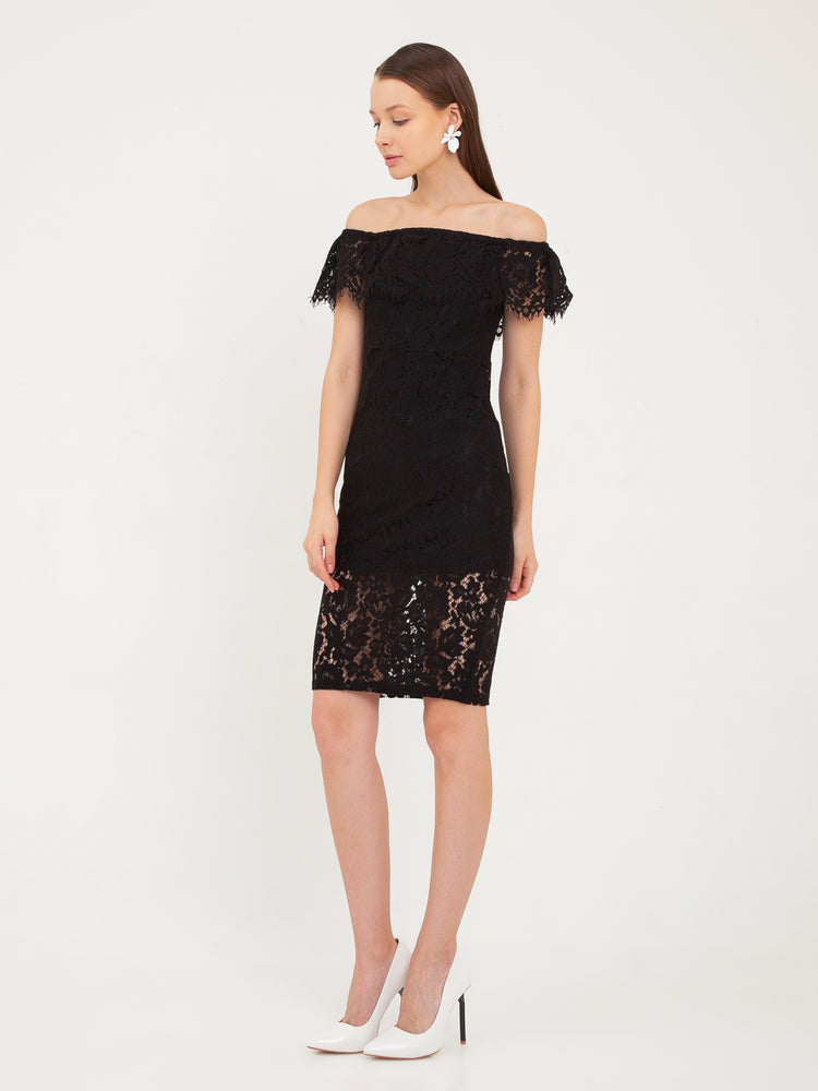 Cara Lace Off-Shoulder Dress in Black