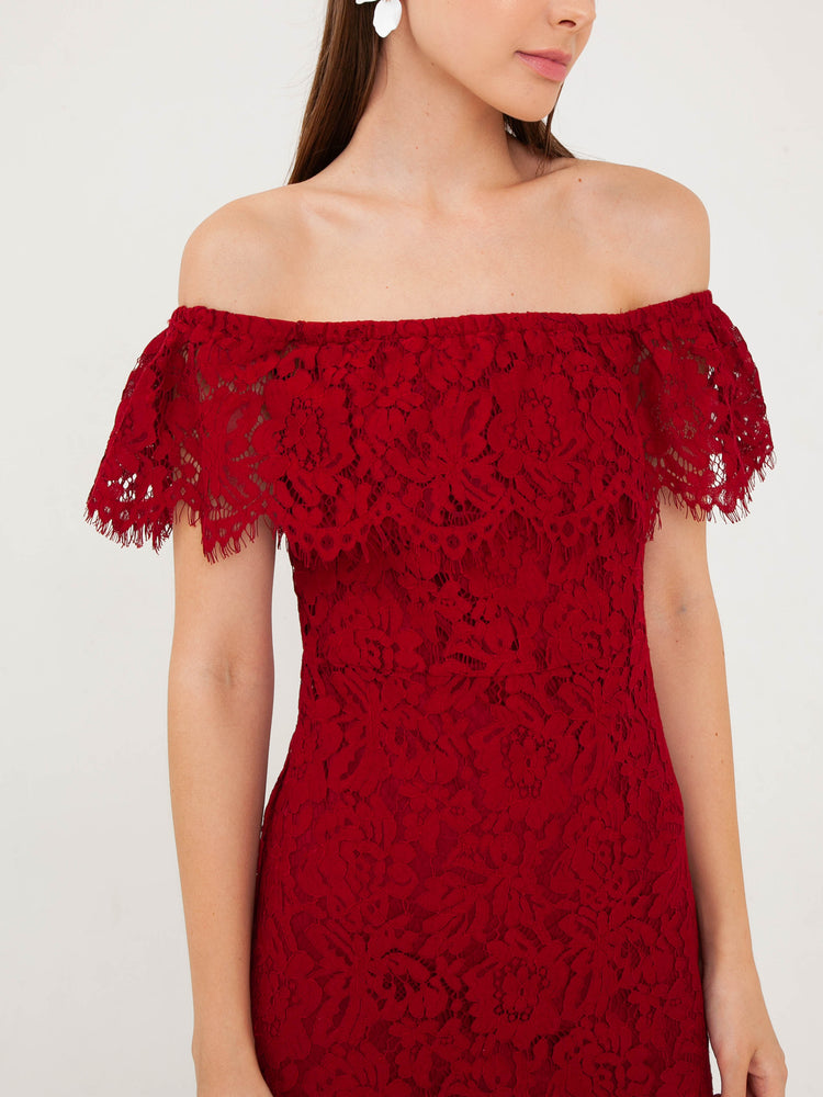 Cara Lace Off-Shoulder Dress in Wine Red