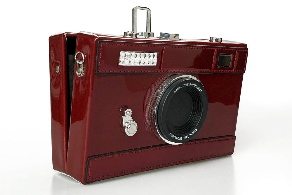 Camera Box Clutch in Deep Red