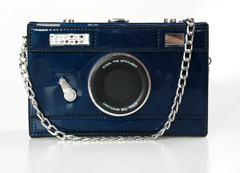 Camera Box Clutch in Royal Blue