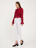 Delphine Ruffled Bib Shirt in Red