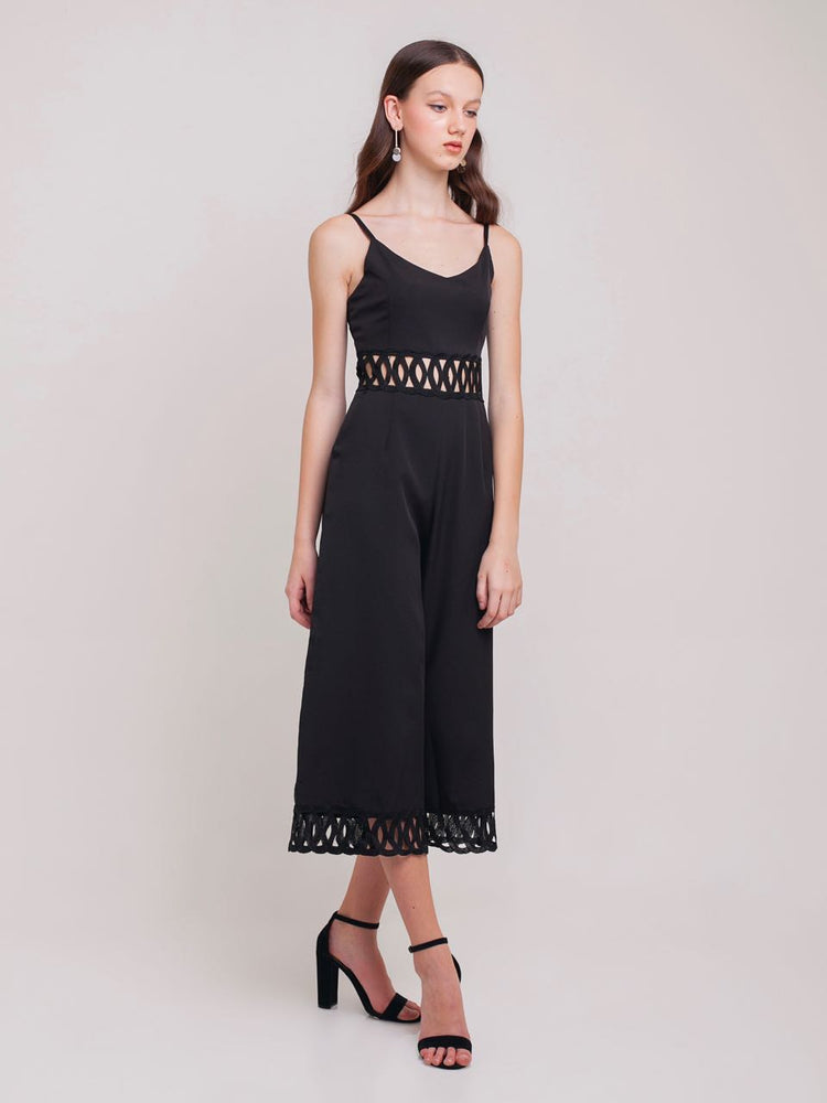 Lyra Cut-out Cropped Jumpsuit in Black