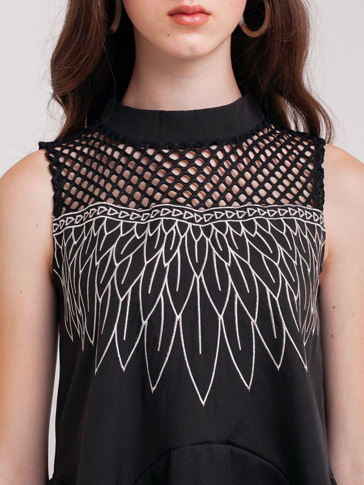 Bernadette Sleeveless Feather Embroidery Tunic