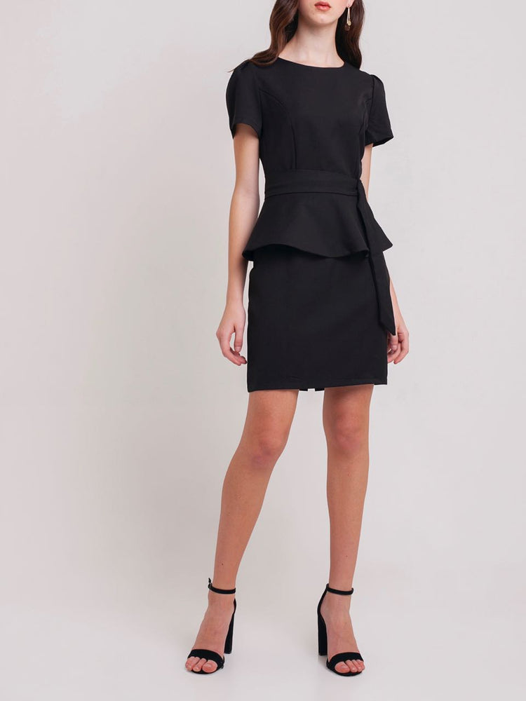 Pandora Sheath Peplum Dress in Black