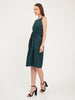 Aurelie Satin Slip Dress in Forest Green